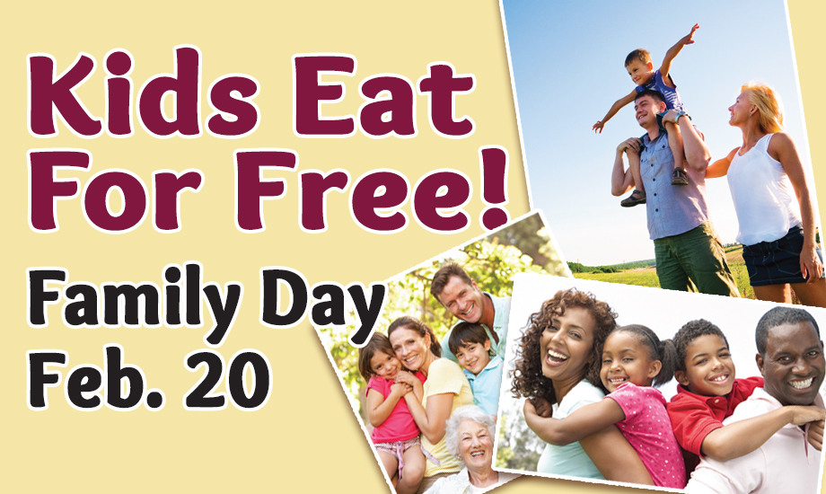 Kids eat free on Family Day