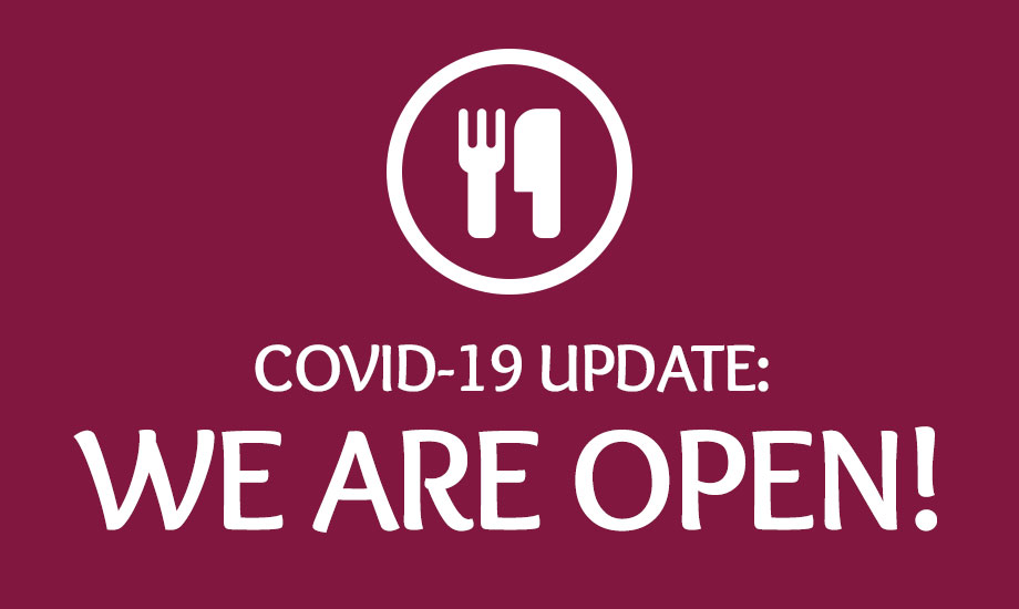"Icon of fork and knife with text below that says ""Covid-19 Update: we are open!"""